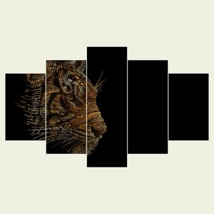 (No frame) Tiger animal series HD Canvas print 5 Panel Wall Art Oil Painting Textured Abstract Pictures Decor Living Room Decoration