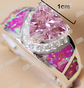 Wholesale Pink Cubic Zirconia Women Rings Cute Girl Gift Opal Jewelry Good Quality DHL