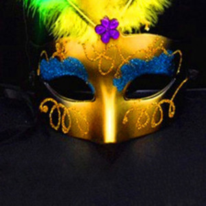 Wholesale Ladies Lace Glowing Masks Masquerade New Year Prom Carnival Festive Party Mask Yellow Rose Red Color