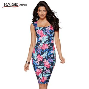 Wholesale Kaige Nina New Women s Fashion Bohemian Printed Sleeveless Tall Waist Party Led Tight Knee length Dress In Summer