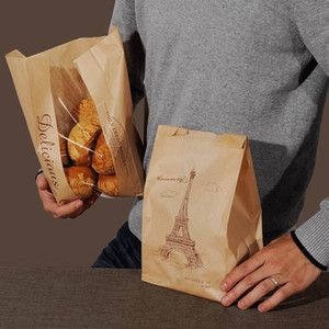 Wholesale paper bread for sale - Group buy 33x16x11cm Food Grade Kraft Paper Cookie Toast Bread Bag with window Brown Printed Package for Bakery Eiffel Tower