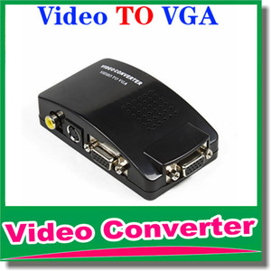 Wholesale DHL Universal PC VGA to TV AV RCA Signal Adapter Converter Video Switch Box Supports NTSC PAL for computer peripherals OM CG8