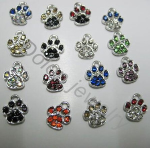Wholesale 60pcs hot sale diy jewelry Mix Color cm Tiny Crystal Alloy Paw Charm fit for DIY Dog or Cat or Bear Pet Jewelry Bracelet DIY pendant