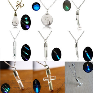 Wholesale Wish Necklace Variety Of Creative Crystal Drift Bottle Dolphin Cross Pepper Water Droplets Bulb Luminous Sand Pendants Necklace D0209