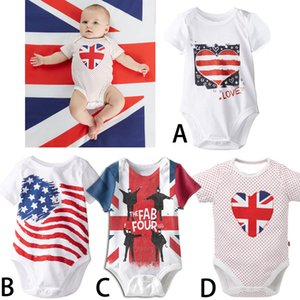 Wholesale American flag newborn babies rompers styles USA flag star infant baby jumpsuits child toddler one piece clothes summer kids clothing