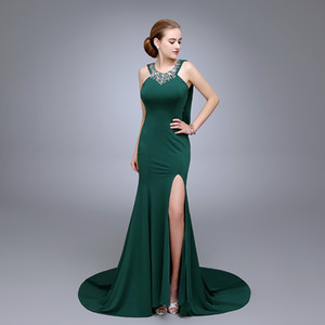 HS18 Hot Sale India victorian prom dresses Around Neck Mermaid Evening Dress Back With flod Invisible Zipper Beaded Green Prom Dress on Sale