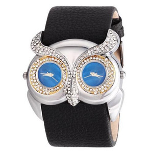 Wholesale Newest fashion Animal Novelty Owl Watch Wide Pu Leather Fashion Watch Dual Time Zone Dress Watch Women Men Casual Wrist Watches