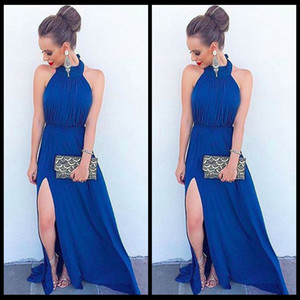 vestidos de fomal al por mayor-2016 Long Beach Prom Vestidos acanalada Halter Dark Blue Chiffon Fomal Evening Party Dress con Slit Backless Prom Vestidos del desfile