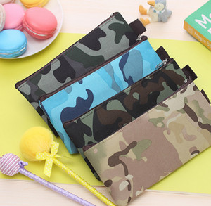 Wholesale- 1X Random Color Flat BAG , Kid's 19CM Approx. School Canvas Coin Pencil BAG Pouch Case ; pocket coin BAG pouch wallet