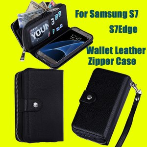 Wholesale For iphone7 plus Samsung S7 Edge Magnet Wallet Leather Zipper Gel inner Case Cover with Money Pocket Slots Photo Frame DHL Free SCA156