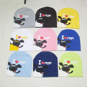 Wholesale 20Colors Brand Cute Baby Cap Beanies I Love Dad Mom Cartoon Sheep Cap for Baby Boy Girl Hat Cotton Hat for Infant Toddler