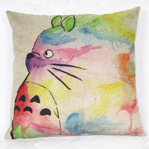 Home Cute Totoro Printed Cotton Linen Waist Throw Pillow Case Pillow Cover Cushion Free Shipping