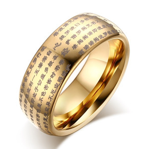 Wholesale gold talisman resale online - Wholeslae The Heart Sutra Mens Rings Religion Totem Tungsten Ring Buddhist Talisman IP Gold Plating Mens Gold Rings US Size