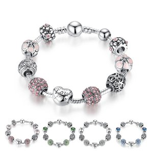 Hot style Fine Tibetan silver Beads Bracelet Pandora Charms Glass Beads DIY Beaded Strands Bracelet Pink White Blue Green 4 Colors Optional