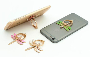 Wholesale 2017 Gifts Lovely Universal Metal Degree Dragonfly Crystal Finger Ring Holder Phone Stand Phone Holder For Samsung Huawei Mobile Phones