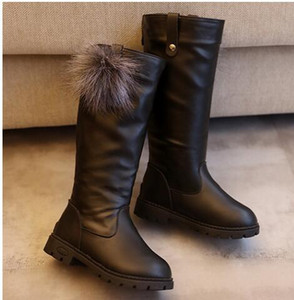 2020 Winter Girls Boots Kids Sonw Boots Children Winter black Warm Fur Plush Waterproof Rubber PU leather Fashion Baby Princess boots