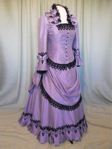 2016 New Noble Purple Turn-down Collar Floor-Length Victorian Bustle Dresses Wedding Ball Gowns Costumes Gorgeous Party Dresses