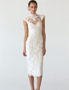 Vintage Style High Neck Lace Wedding Dresses Cap Sleeve Sheath Tea Length Bridal Gowns vestido de noiva Custom Made W063