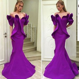 2019 Purple Organza Stain Dubai Arabic Off-shoulder Mermaid Dresses Party Evening Wear Ruffles Trumpet Backless Occasion Prom Dress on Sale