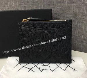 Wholesale 2018 New Design Women s Black Caviar Zipper wallet Classic Card Holder Genuine Leather Small Coin Purse Factory Outlet with Box