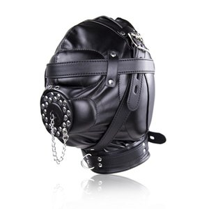 Wholesale Slave Bright Muzzles Leather Hoods Mask Removable Mouth Gag Fetish Fantasy Sex Product For Adult Head Restraints BDSM Bondage