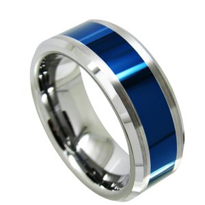 Wholesale dark blue fashion jewelry resale online - fashion jewelry finger ring mm High Polish and brush Nice Dark Blue Plated Tungsten Carbide Ring fashion jewelry finger ring for men