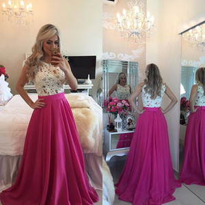 Lace Top A line Party Dresses 2016 Jewel Sleeveless Appliques Chiffon Fuchsia Prom Evening Gowns Custom made on Sale