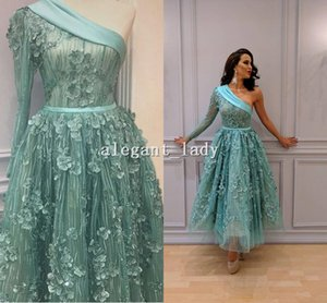 Wholesale Turquoise Prom Dresses vestido de festa One Shoulder Long Sleeved 3D Florals A Line Tea Length Lace Party evening Gowns