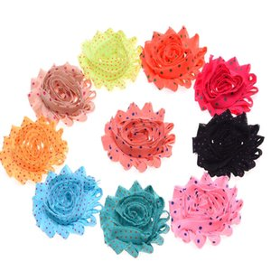 Wholesale 100PCS Shabby Rosette Rose Flowers Chiffon Ruffles Hair Flower for Headbands Kids Hair Accessories DIY Flower Styles