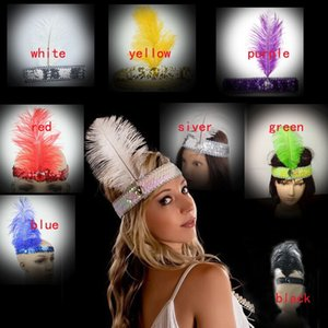 Wholesale Flapper Feather Headband s Flapper Sequin Charleston Costume Headband Band Party mixed more colors indian feather headdress