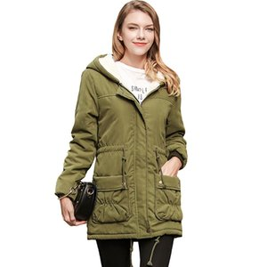 Wholesale 2017 New Style Winter Lamb In The Long Hair Slim Hooded Cotton Padded Ladies Size Coat