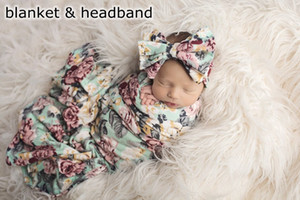 Wholesale INS Infant blue Flower print Baby Swaddle Blanket set Sack Baby Girls flower Blanket Newborn Baby Soft Sleep Sack cute Headband pc set