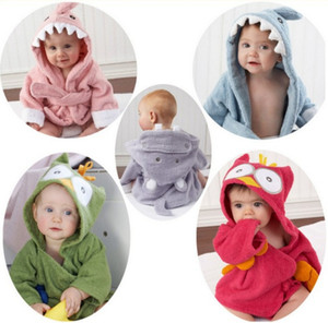 Wholesale New cute animal bathrobe Flannel Kids shark fox mouse owl model Robes cartoon Nightgown Children Towels Hooded bathrobes
