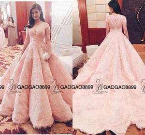 Wholesale Liza Soberano in Michael Cinco Blush Pink Lace Pearls Ball Gown Prom Dresses Dubai Arabic Cap Sleeve Princess Royal Dresses Evening Wear