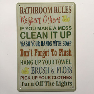 Wholesale Bathroom Rules Retro Vintage Metal Tin sign poster for Man Cave Garage shabby chic wall sticker Cafe Bar home decor