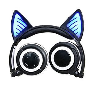Wholesale Foldable Cat ear Bluetooth Headphone Flashing Glowing Headsets with LED light for iPhone plus S MP3 S8 Cell phone