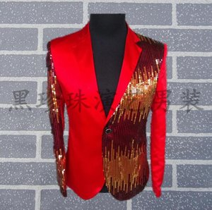 Wholesale Black red men suits designs masculino homme terno stage costumes for singers men sequin blazer dance clothes jacket style dress