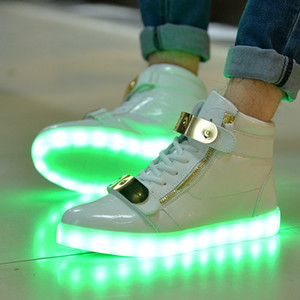 Wholesale New Big Size USB LED Shoes Men Women Glowing Sneakers Fashion Light up Shoes Flats High top Adults Luminous Shoes