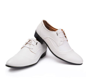 Wholesale 2017 new Breathe Dress Shoes freely White man cusp lace up Leather Business dress shoes classic Single shoes