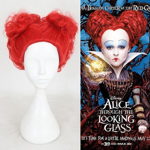 Wholesale Z F Wholesales Alice in Wonderland The Red Queen Cosplay Shot Red Curly Wigs for ladies