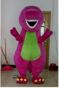 Hot Selling Barney Dinosaur Mascot Costume Movie Character Barney Dinosaur Costumes Fancy Dress Adult Size Clothing Free Shipping
