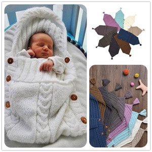 Wholesale New Newborn Baby Knitted Sleeping Bags Blanket Handmade Wrap Super Soft Sleeping Bag Cotton Jacquard Blanket Layer Thread Tassel Hat Top
