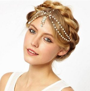 Wholesale Fashion Wedding Bridal Hair Accessories for Women Metal Beaded Pearl Head Chain Indian Hair Jewelry Women Bridal Crown Ornaments