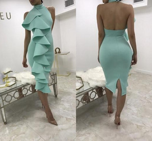 Wholesale 2018 Black Mint Green High Neck Knee Length Cocktail Dresses Side Ruffles Short Prom Dresses Black Party Dress Backless Evening Gowns