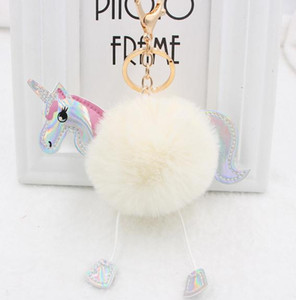 Wholesale Glowing Pony Key Chain Cartoon Pu Leather Plush Ball Keychain Creative Key Accessories