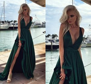 Wholesale 2017 Hunter Green Evening Dresses Sexy V-Neck Prom Dresses with High Split Sleeveless Party Gowns Velvet