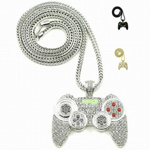 Wholesale Hip Hop Game Machine Handle Pendant Necklace Mens Full Crystal Heavy Necklace Iced Out Game controller Necklace