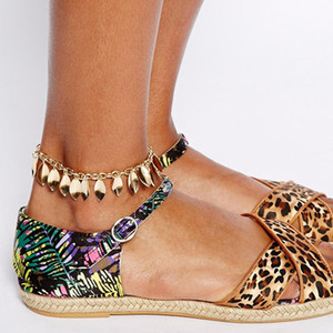 European and American Jewelry Trade star with a Anklet leaves leaf fringed Anklets on Sale