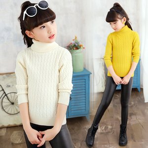 Wholesale 2017 Sweater for Girl Knitted Girls Turtleneck Sweater Kids Cotton black pink Red New Girl Autumn Winter Kid US Size T T