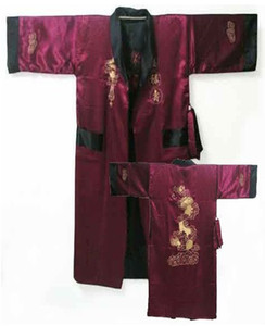 Wholesale-Reversible Burgundy Black Chinese Men's Silk Satin Robe Two Side Nightgown Embroidery Dragon Kimono Bath Gown One Size MR001